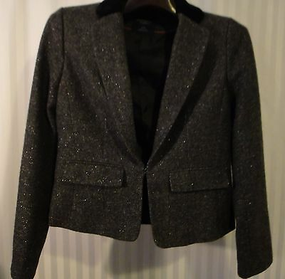 AEO Metallic Tweed Blazer Black Velvet Collar Black/Gray/Silver Size Medium