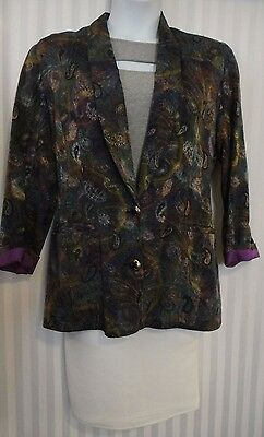 Paisley Print Blazer Multi Color Purples Pockets Lined Gold Buttons VTG Size 10