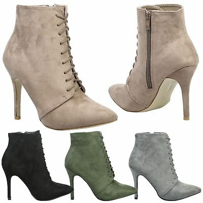 Lottie Womens High Stiletto Heels Lace Up Zip Ankle Boots Ladies Shoes Size New