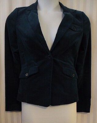 Velvet Blazer Dark Teal Pockets Fitted Career Work  Size Medium