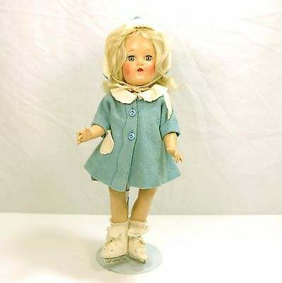 "Ideal P-90 14"" Platinum Haired Straight Leg Toni Doll w/Dress,Coat,Hat,Ice Skate"