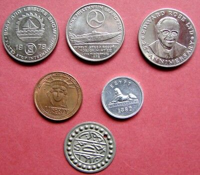 Very Collectable Bulk Lot Of 6 Mixed  Metal Tokens  For Different Themes