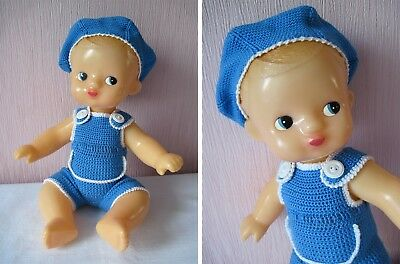 Russian Vintage Boy Doll, Plastic, Flirty Eyes, Molded Hair, USSR, 80's.New!