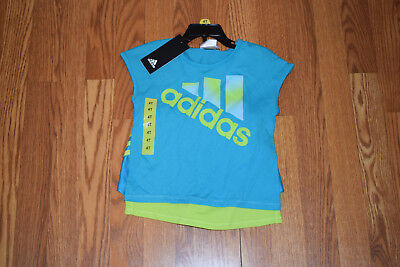 NWT Girls ADIDAS 2 Pc Turquoise Lime Shorts Shirt Active Outfit 2T 3T 4T 5 6 6X