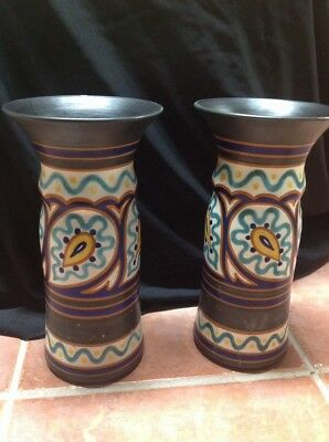 """Pair Of Large Antique Gouda Vases Holland Art Pottery 11.5 """", One A.I"""