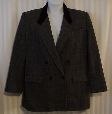 Prince of Whales Plaid Blazer Velvet Collar VTG Size 16