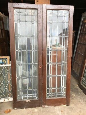 Cm 218 Match Pair Antique Zinc Glass Pine Leaded French Doors 48 X 82