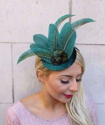 Grey Green Peacock Feather Disc Saucer Hat Fascinator Hair Races Ascot 6996
