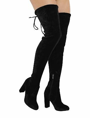 New Ladies Thigh High Over The Knee High Heel Stretch Boots SIZES UK 9-12