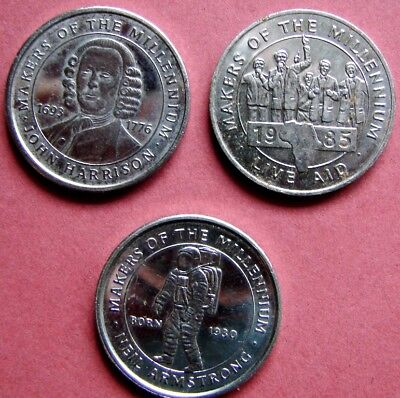 Very Collectable Set Of Three Nickel Into A New Millenium Medals  Issued 2000