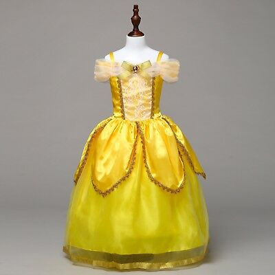 US STOCK Girls Beauty and the Beast Princess Belle Party Costume Fancy Dress O66