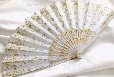 White Gold Flower Hand Fan Wedding Dance Fancy Chinese Spanish Xmas Party Ff9