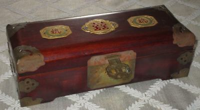 Vintage Shanghai China Wood Brass Jewelry Box - 3 Gold Enameled Medallions