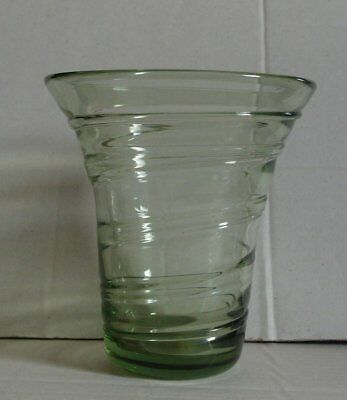 A Whitefriars glass ribbon trailed vase of sea green 1930s, barnaby powell 8886