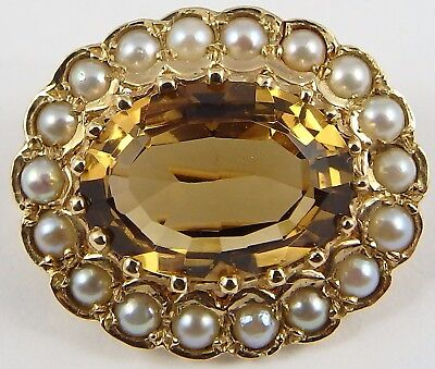 Hallmarked 9ct yellow Gold seed pearl and citrine set brooch.