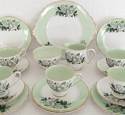 Vintage Royal Stafford Mint Green Harlequin Roses China 18 Piece Tea Set Wedding