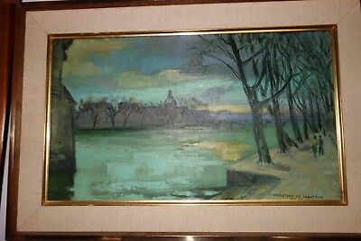 Early 20th Century Vintage FrenchParis Landscape Oil Painting Signed