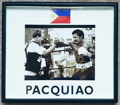 """Manny """"PACMAN"""" Pacquiao Authentic Signed & Framed Photo with Freddie Roach, COA"""