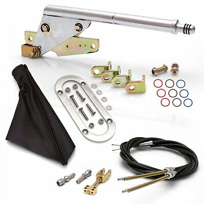 Floor Mount Emergency Parking Brake~ Black Boot Chrome Ring and Cable Kit