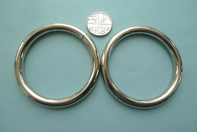 2 Ex- Large Silver Metal O-Rings 55mm