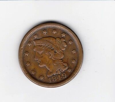 1849 Large Penny Premium Quality Nice Detail/color Free Shipping