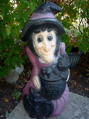 """Halloween Witch w/Cat Cauldron Plastic Lighted Blow Mold 34"""" NEXT DAY SHIP!"""