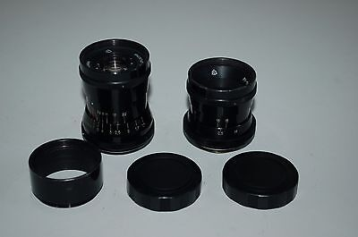 Industar 50 3.5/50 and PO-51 2.8/20 Lenses. C-Mount. With Hood and Caps.