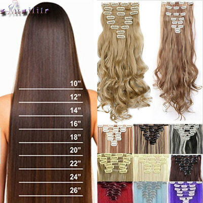 100% Natural Full Head Clip in Hair Extensions Extension 8Pcs 18Clips ins HG12
