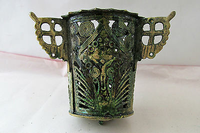 Ancient Antique Hanging bronze Orthodox Lamp Byzantine with patina