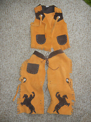 Halloween costume 3T 4T Tan Suede Leather Chaps Vest Sheriff Cowboy Boys pagent