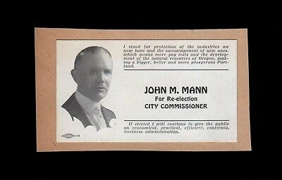 >Original 1920 Vintage Business Card City Commish JOHN M. MANN Portland, Oregon