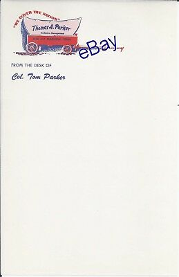 Elvis Presley Manager Colonel Tom Parker Personal Owned Stationery Sheet w/COA