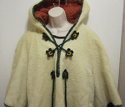 Vintage Petti Glen Junior Apparel 1/2 Zip Yarn Pull Closure Jacket Coat Flowers