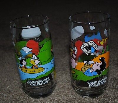 Lot Of 2 Vintage Mcdonald's Camp Snoopy Collection Glasses
