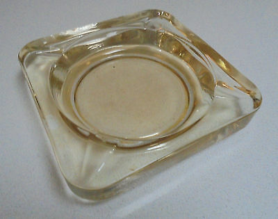 Retro Amber Yellow ASH TRAY LARGE Square Ash tray 15 cm x 15 cm