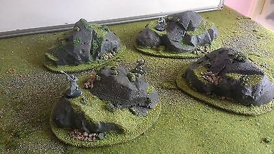 4 Rocky Hills,28mm,Painted,Scenery,Terrain,40k,LOTR,Wargaming,Warhammer,O Scale