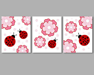 3 prints, art for baby girl nursery wall decor - ladybugs and flowers, pink, red