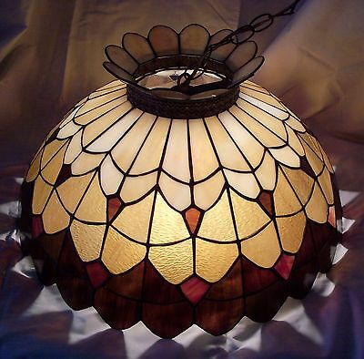 Vintage Leaded Slag Stained Glass Chandelier Shade Ceiling Light Fixture