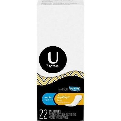 Kotex Lightdays Pantiliners, Regular, Unscented, 22 Daily Liners - 4 Pack