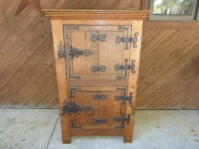 RARE 18th C CURING CUPBOARD CABINET WROUGHT IRON HEART HARDWARE LATCH & HINGE