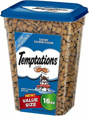 New Temptations Savory Salmon 16 Oz Crunchy Outside Soft Inside Treat For Cats