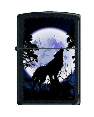 Zippo 0024, Wolf Howling at Moon, Black Matte Finish Lighter, Full Size