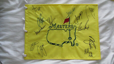 Signed Undated Masters Flag Signed By 11 Champions winners Spieth Player PROOF