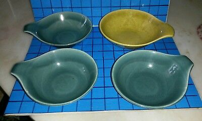 Vintage lot of 4 RUSSEL WRIGHT STEUBENVILLE Bowls 3 Blue,  1 Yellow