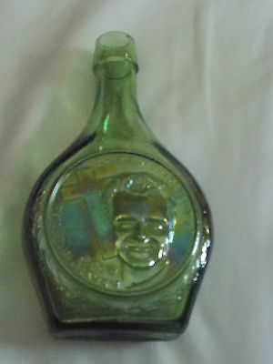 "Vintage ""Rev. Billy Graham"" Green Iridescent Decanter By Wheaton Glass 1970's"