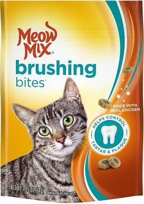 New Sealed Meow Mix Brushing Bites 2.25 Oz Made With Real Salmon