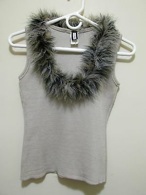 vtg 90s Sirens Sexy sleeveless knit sweater top Fluffy MARIBOU FEATHER Collar S