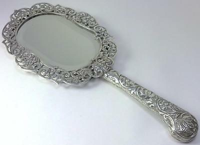 Victorian hallmarked Sterling Silver 26cm Dressing Table Hand Mirror – 1886