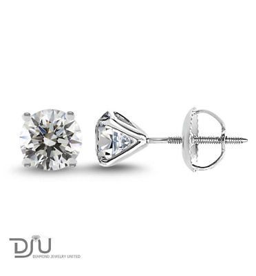 2.1 Ct Round Cut I1/E Diamond Stud Earrings 14K White Gold