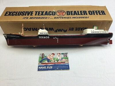 "Vintage 27.5"" Motorized Texaco North Dakota Oil Tanker Boat Toy In Box Neat!"
